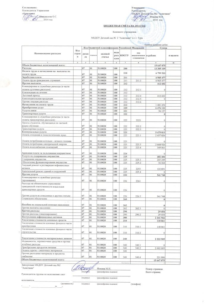 бюджетная смета 1